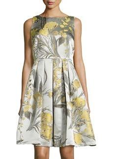 Carmen Marc Valvo Sleeveless Fit-&-Flare Dress, Citrus