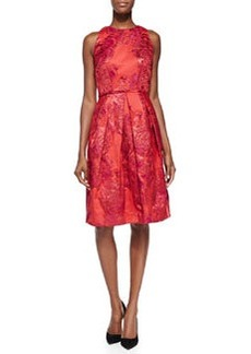 Carmen Marc Valvo Sleeveless Floral Cocktail Dress