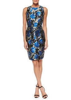 Carmen Marc Valvo Sleeveless Floral Cocktail Dress