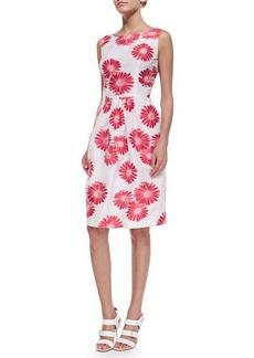 Carmen Marc Valvo Sleeveless Floral Jacquard Dress  Sleeveless Floral Jacquard Dress