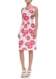 Carmen Marc Valvo Sleeveless Floral Jacquard Dress