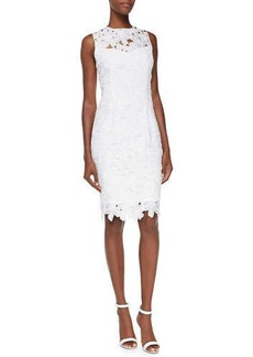 Carmen Marc Valvo Sleeveless Floral Lace Sheath Dress