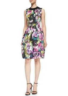 Carmen Marc Valvo Sleeveless Floral-Print Bell-Skirt Dress