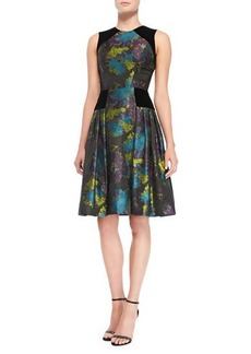 Carmen Marc Valvo Sleeveless Floral-Print Cocktail Dress