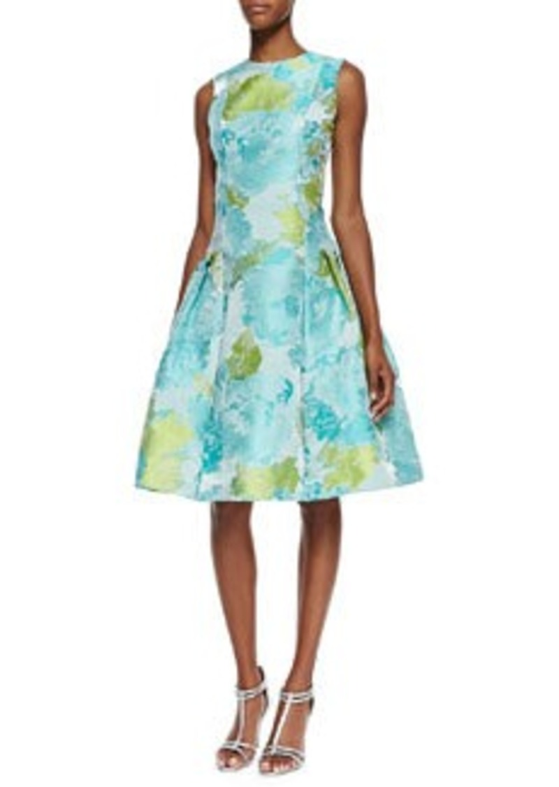 Carmen Marc Valvo Sleeveless Floral Print Cocktail Dress, Aqua/Green