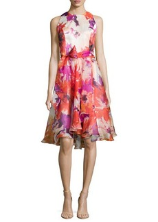Carmen Marc Valvo Sleeveless Floral-Print Cocktail Dress, Tomato