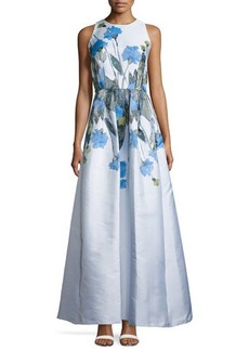 Carmen Marc Valvo Sleeveless Floral-Print Cutaway Gown, Periwinkle