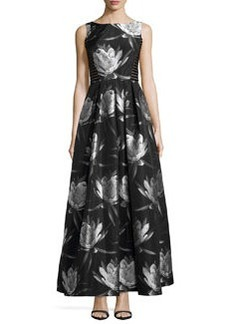 Carmen Marc Valvo Sleeveless Floral-Print Gown, Black