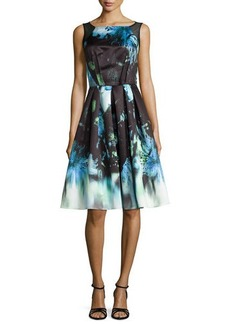 Carmen Marc Valvo Sleeveless Floral-Print Pleated Dress
