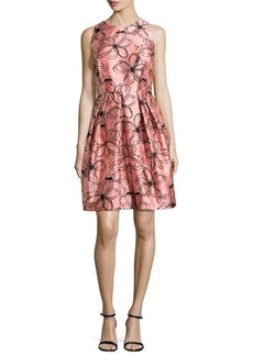 Carmen Marc Valvo Sleeveless Floral-Print Pleated Dress, Shrimp