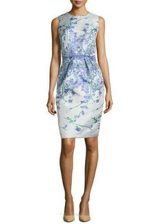 Carmen Marc Valvo Sleeveless Floral-Print Sheath Dress