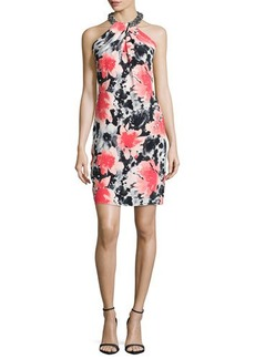 Carmen Marc Valvo Sleeveless Floral-Print Toga Cocktail Dress, Coral