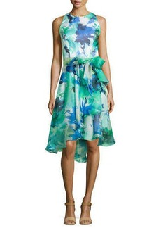 Carmen Marc Valvo Sleeveless Floral Printed Cocktail Dress