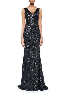 Carmen Marc Valvo Sleeveless Floral-Sequined Mermaid Gown