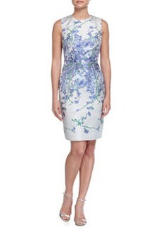 Carmen Marc Valvo Sleeveless Floral Sheath Dress, White/Periwinkle