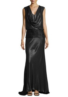 Carmen Marc Valvo Sleeveless Gown w/ Beaded Hip Detail