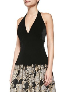 Carmen Marc Valvo Sleeveless Halter Velvet Top, Black
