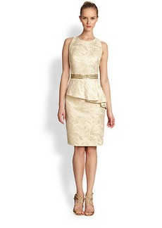 Carmen Marc Valvo Sleeveless Jacquard Peplum Dress