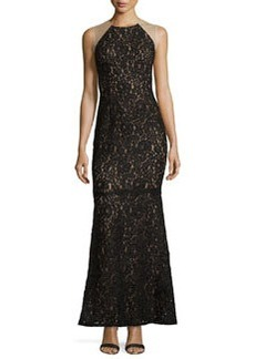 Carmen Marc Valvo Sleeveless Lace Gown, Black/Nude