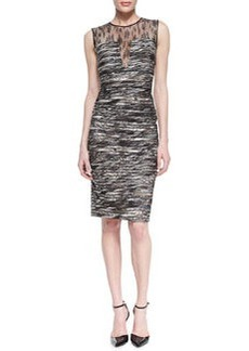 Carmen Marc Valvo Sleeveless Lace-Top Ribbed Cocktail Dress, Ivory/Brown