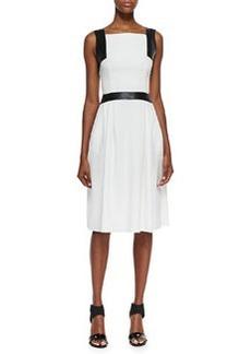 Carmen Marc Valvo Sleeveless Leather-Trim Dress, Ivory, Black