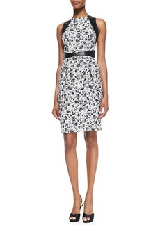 Carmen Marc Valvo Sleeveless Leather-Trim Floral Cocktail Dress