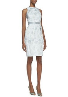 Carmen Marc Valvo Sleeveless Metallic Floral-Print Cocktail Dress, Silver