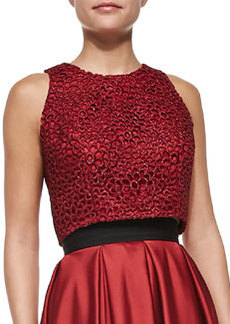 Carmen Marc Valvo Sleeveless Metallic Lace Crop Top, Crimson