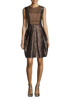 Carmen Marc Valvo Sleeveless Metallic Mattelasse Cocktail Dress
