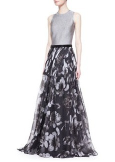 Carmen Marc Valvo Sleeveless Mixed-Media Floral Gown