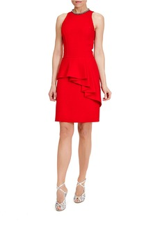 CARMEN MARC VALVO Sleeveless Peplum Cocktail Dress