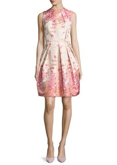 Carmen Marc Valvo Sleeveless Pleated Floral-Print Cocktail Dress, Coral