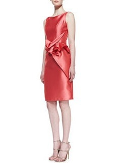 Carmen Marc Valvo Sleeveless Ruffle-Waist Cocktail Dress, Coral