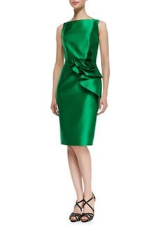 Carmen Marc Valvo Sleeveless Ruffle Waist Cocktail Dress, Kelly Green