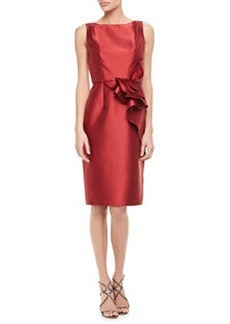 Carmen Marc Valvo Sleeveless Ruffle-Waist Cocktail Dress, Red