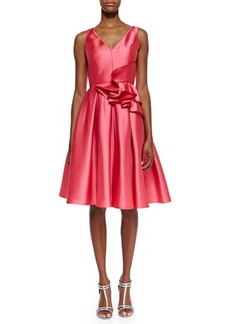Carmen Marc Valvo Sleeveless Ruffle Waist Party Dress, Strawberry