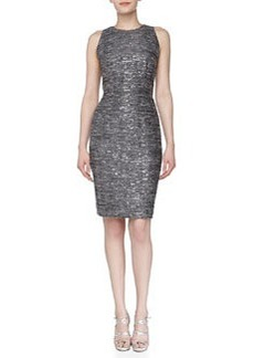 Carmen Marc Valvo Sleeveless Sequined Sheath Dress, Pewter