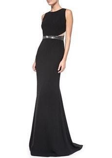 Carmen Marc Valvo Sleeveless Sequined Waist & Back Gown