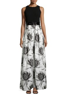 Carmen Marc Valvo Sleeveless Solid-Top Floral-Skirt Combo Gown  Sleeveless Solid-Top Floral-Skirt Combo Gown