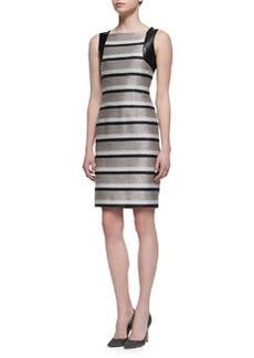 Carmen Marc Valvo Sleeveless Striped Leather-Accent Sheath Dress, Taupe/Black