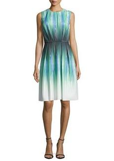 Carmen Marc Valvo Sleeveless Striped-Ombre Cocktail Dress