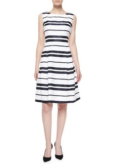 Carmen Marc Valvo Sleeveless Striped Pleated-Skirt Dress  Sleeveless Striped Pleated-Skirt Dress