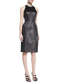 Carmen Marc Valvo Sleeveless Textured Cocktail Dress  Sleeveless Textured Cocktail Dress