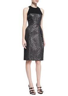Carmen Marc Valvo Sleeveless Textured Cocktail Dress