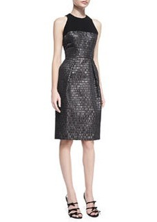Carmen Marc Valvo Sleeveless Textured Cocktail Dress