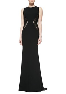 Carmen Marc Valvo Sleeveless Textured-Side  Gown