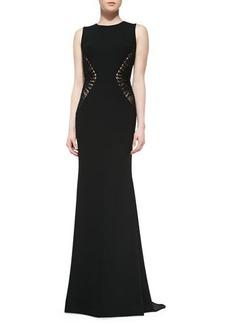 Carmen Marc Valvo Sleeveless Textured-Side  Gown