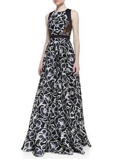 Carmen Marc Valvo Sleeveless Trimmed Bodice Printed Gown, Black/Ivory