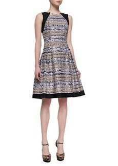 Carmen Marc Valvo Sleeveless Tweed Day Dress