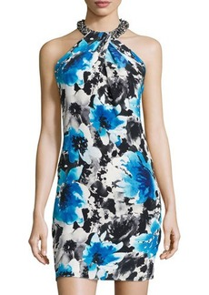 Carmen Marc Valvo Sleeveless Twist-Front Dress